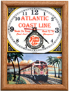 railroad clocks, clocks with railroad and train logos